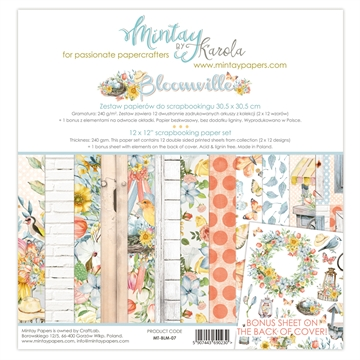 "Happymade - Mintay Papers - Design papers - Bloomville - 12x12"" (pakn. m/12 + 1 bonus ark)"