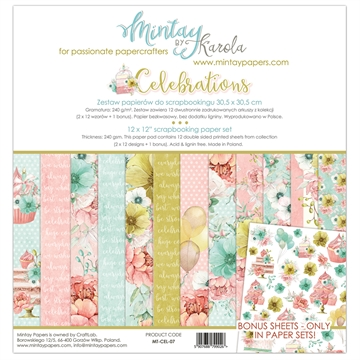 "Happymade - Mintay Papers - Design papers - Celebrations - 12x12"" (pakn. m/12 + 1 bonus ark)"