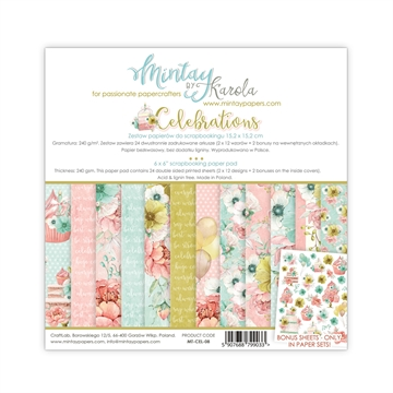 "Happymade - Mintay Papers - Design papers - Celebrations - 6x6"" (blok m/24 + 2 bonus ark)"