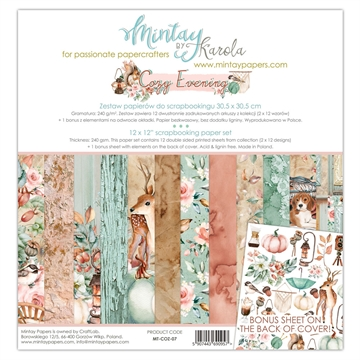 "Happymade - Mintay Papers - Design papers - Cozy Evenning - 12x12"" (pakn. m/12 + 1 bonus ark)"