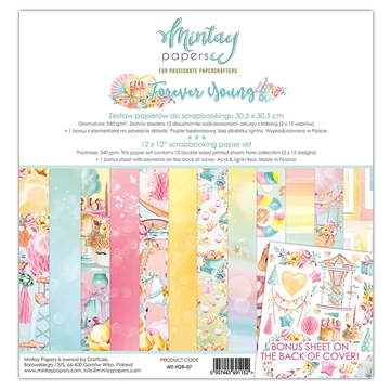 "Happymade - Mintay Papers - Design papers - Forever Young - 12x12"" (pakn. m/12 + 1 bonus ark)"