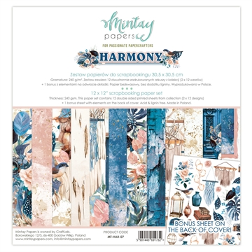 "Happymade - Mintay Papers - Design papers - Harmony - 12x12"" (pakn. m/12 + 1 bonus ark)"
