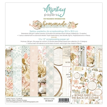 "Happymade - Mintay Papers - Design papers - Homemade - 12x12"" (pakn. m/12 + 1 bonus ark)"