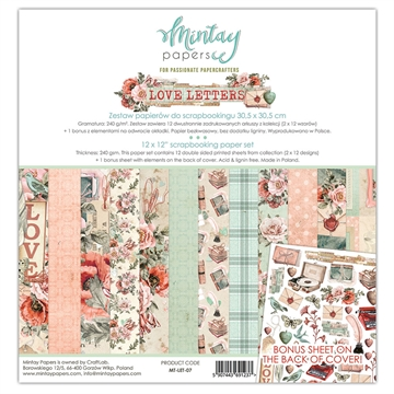 "Happymade - Mintay Papers - Design papers - Love Letters - 12x12"" (pakn. m/12 + 1 bonus ark)"