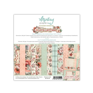 "Happymade - Mintay Papers - Design papers - Love Letters - 6x6"" (blok m/24 + 2 bonus ark)"