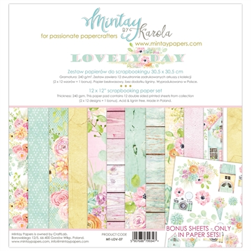 "Happymade - Mintay Papers - Design papers - Lovely Day - 12x12"" (pakn. m/12 + 1 bonus ark)"