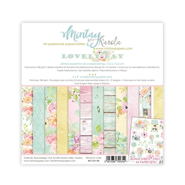 "Happymade - Mintay Papers - Design papers - Lovely Day - 6x6"" (blok m/24 + 2 bonus ark)"