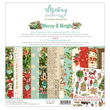 "Happymade - Mintay Papers - Design papers - Merry & Bright - 12x12"" (pakn. m/12 + 1 bonus ark)"