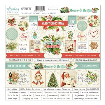Happymade - Mintay Papers - Cardboard Stickers - Merry & Bright - 12x12""