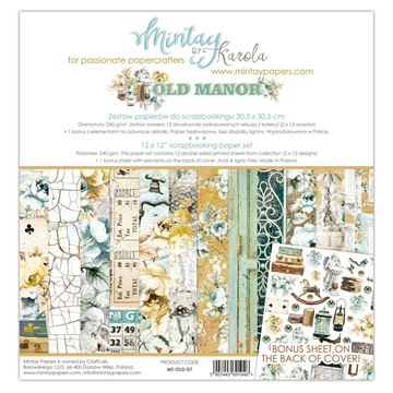 "Happymade - Mintay Papers - Design papers - Old Manor - 12x12"" (pakn. m/12 + 1 bonus ark)"