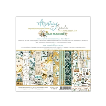 "Happymade - Mintay Papers - Design papers - Old Manor - 6x6"" (blok m/24 + 2 bonus ark)"
