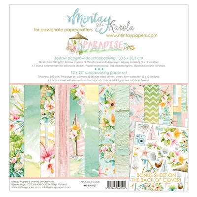 "Happymade - Mintay Papers - Design papers - Paradise - 12x12"" (pakn. m/12 + 1 bonus ark)"