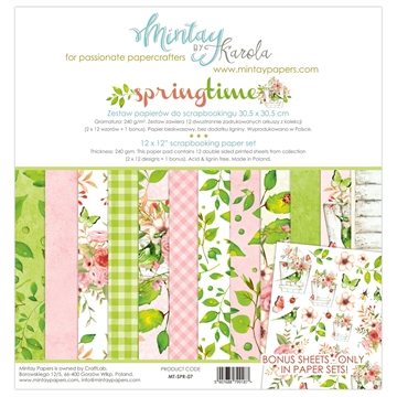 "Happymade - Mintay Papers - Design papers - Springtime - 12x12"" (pakn. m/12 + 1 bonus ark)"