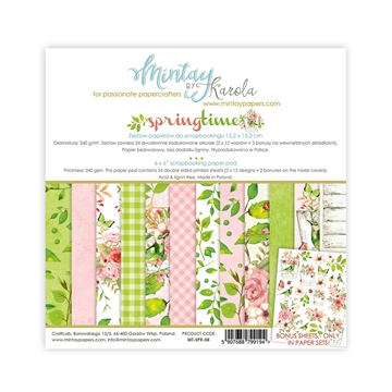 "Happymade - Mintay Papers - Design papers - Springtime - 6x6"" (blok m/24 + 2 bonus ark)"