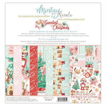 "Happymade - Mintay Papers - Design papers - The Sweetest Christmas - 12x12"" (pakn. m/12 + 1 bonus ark)"