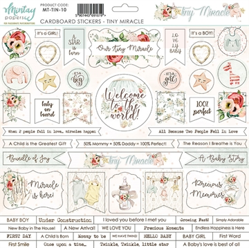 Happymade - Mintay Papers - Cardboard Stickers - Tiny Miracle - 12x12""
