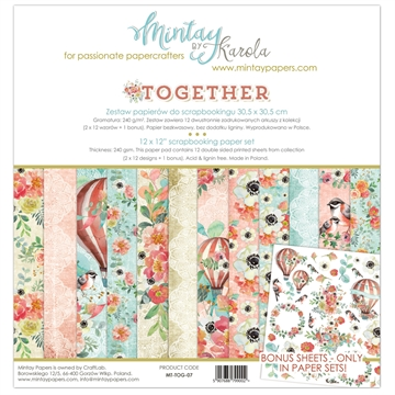 "Happymade - Mintay Papers - Design papers - Together - 12x12"" (pakn. m/12 + 1 bonus ark)"