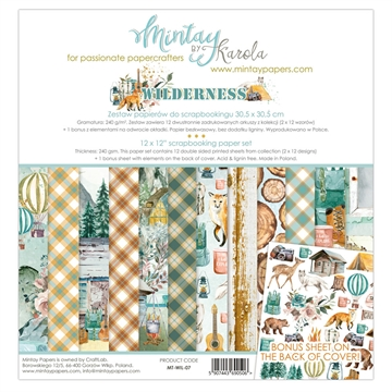 "Happymade - Mintay Papers - Design papers - Wilderness - 12x12"" (pakn. m/12 + 1 bonus ark)"