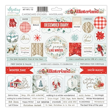 Happymade - Mintay Papers - Cardboard Stickers - Winterland - 12x12""
