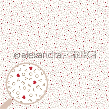 "Happymade - Alexandra Renke - 12x12"" - Love Letters With Red Hearts - 10.2165"