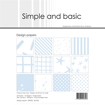 Happymade - Simple and basic - Design papers - 15x15cm - Pigeon Blue - SBP022