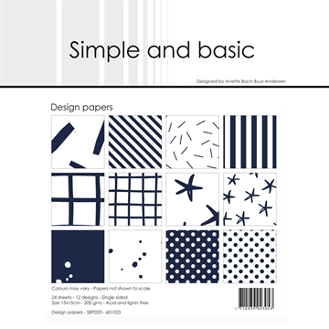 Happymade - Simple and basic - Design papers - 15x15cm - Dark Blue - SBP023