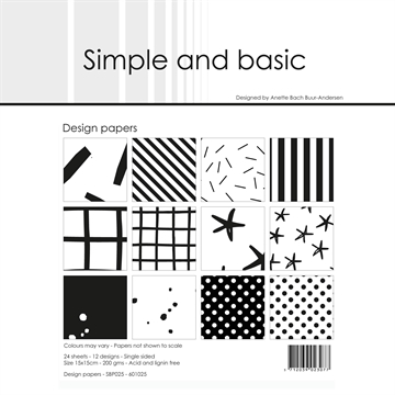 Happymade - Simple and basic - Design papers - 15x15cm - Jet Black - SBP025