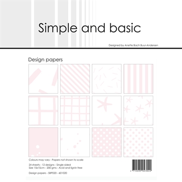 Happymade - Simple and basic - Design papers - 15x15cm - Baby Rose - SBP020