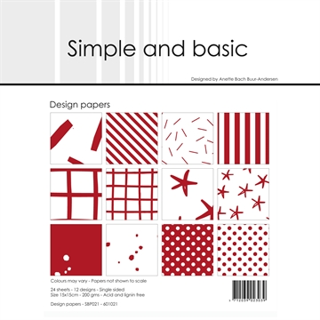 Happymade - Simple and basic - Design papers - 15x15cm - Chili Red - SBP021