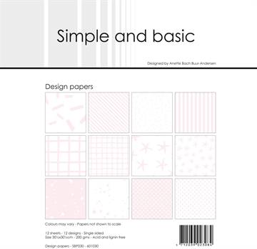 "Happymade - Simple and basic - Design papers - 12x12"" - Baby Rose - SBP030"