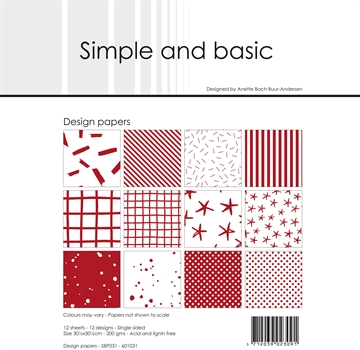 "Happymade - Simple and basic - Design papers - 12x12"" - Chili Red - SBP031"