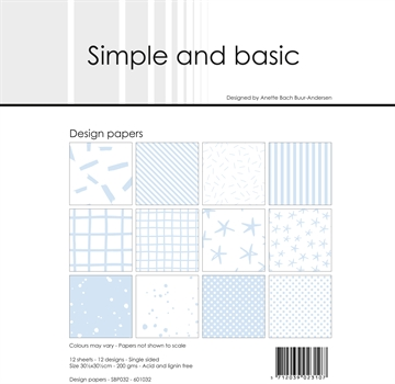 "Happymade - Simple and basic - Design papers - 12x12"" - Pigeon Blue - SBP032"