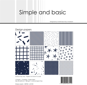 "Happymade - Simple and basic - Design papers - 12x12"" - Dark Blue - SBP033"