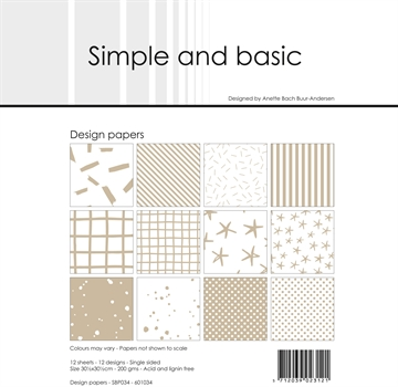 "Happymade - Simple and basic - Design papers - 12x12"" - Baileys Brown - SBP034"