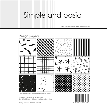 "Happymade - Simple and basic - Design papers - 12x12"" - Jet Black - SBP035"