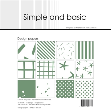 Happymade - Simple and basic - Design papers - 15x15cm - Eucalyptus - SBP501