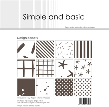 Happymade - Simple and basic - Design papers - 15x15cm - Warm Grey - SBP503