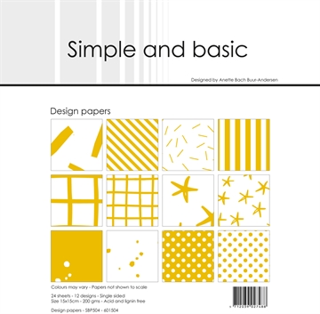 Happymade - Simple and basic - Design papers - 15x15cm - Mustard - SBP504