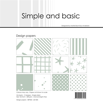 Happymade - Simple and basic - Design papers - 15x15cm - Sage - SBP505
