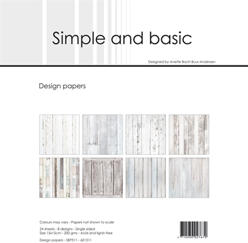 Happymade - Simple and basic - Design papers - 15x15cm - White Wood - SBP511