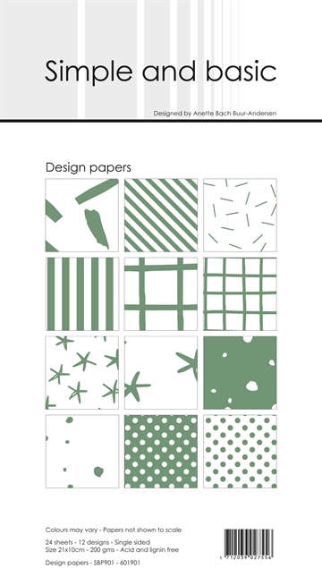 Happymade - Simple and basic - Design papers - 21x10cm - Eucalyptus - SBP901