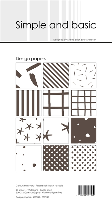 Happymade - Simple and basic - Design papers - 21x10cm - Warm Grey - SBP903