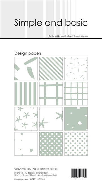Happymade - Simple and basic - Design papers - 21x10cm - Sage - SBP905