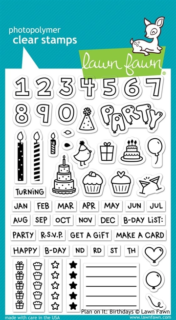 Lawn Fawn clear stamp set - Plan on it: Birthdays