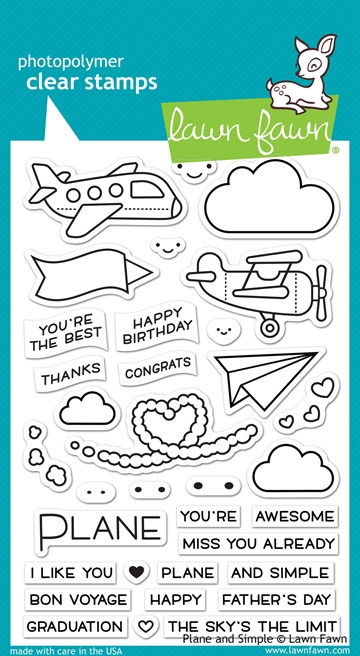Lawn Fawn clear stamp set - Plane and simple