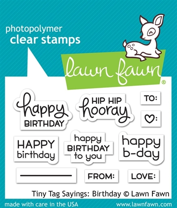 Lawn Fawn clear stamp set - Tiny tag sayings: Birthday