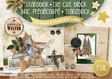 Studio Light Die Cut Block - Woodland Winter - 12 ark (A5) - (WW07)