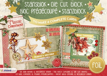 Studio Light Die Cut Block - Classic Christmas - 12 ark (A5) - (SL11)