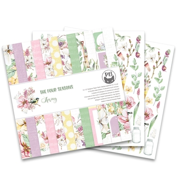 "Happymade - Piatek - Design papers - The Four Seasons - Spring - 12x12"" (pakn. m/12 + 2 bonus ark)"