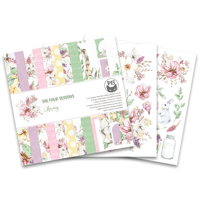 "Happymade - Piatek - Design papers - The Four Seasons - Spring - 6x6"" (pakn. m/24 + 2 bonus ark)"